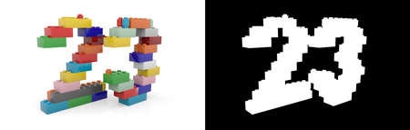 Colorful toy plastic number twenty-three (number 23) from building bricks with alpha channel and shadow on white background. 3D illustration