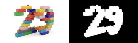 Colorful toy plastic number twenty-nine (number 29) from building bricks with alpha channel and shadow on white background. 3D illustration