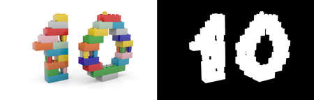 Colorful toy plastic number ten (number 10) from building bricks with alpha channel and shadow on white background. 3D illustration