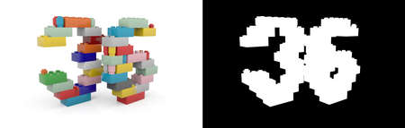 Colorful toy plastic number thirty-six (number 36) from building bricks with alpha channel and shadow on white background. 3D illustration
