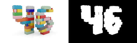 Colorful toy plastic number forty-six (number 46) from building bricks with alpha channel and shadow on white background. 3D illustration