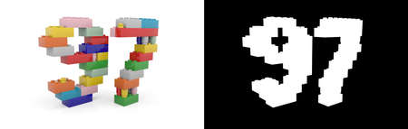 Colorful toy plastic number ninety-seven (number 97) from building bricks with alpha channel and shadow on white background. 3D illustration