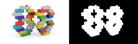 Colorful toy plastic number eighty-eight (number 88) from building bricks with alpha channel and shadow on white background. 3D illustration