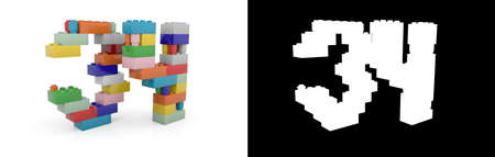 Colorful toy plastic number thirty-four (number 34) from building bricks with alpha channel and shadow on white background. 3D illustration
