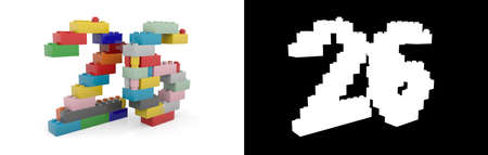 Colorful toy plastic number twenty-six (number 26) from building bricks with alpha channel and shadow on white background. 3D illustration