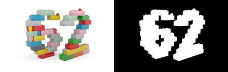 Colorful toy plastic number sixty-two (number 62) from building bricks with alpha channel and shadow on white background. 3D illustration