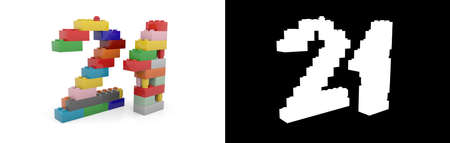 Colorful toy plastic number twenty-one (number 21) from building bricks with alpha channel and shadow on white background. 3D illustration