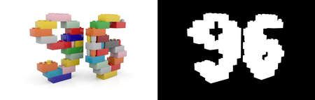 Colorful toy plastic number ninety-six (number 96) from building bricks with alpha channel and shadow on white background. 3D illustration