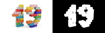 Colorful toy plastic number nineteen (number 19) from building bricks with alpha channel and shadow on white background. 3D illustration