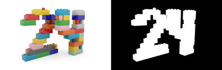 Colorful toy plastic number twenty-four (number 24) from building bricks with alpha channel and shadow on white background. 3D illustration