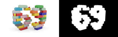 Colorful toy plastic number sixty-nine (number 69) from building bricks with alpha channel and shadow on white background. 3D illustration