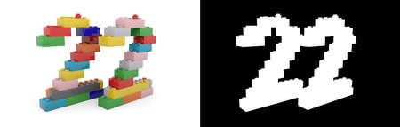 Colorful toy plastic number twenty-two (number 22) from building bricks with alpha channel and shadow on white background. 3D illustration Stock Photo