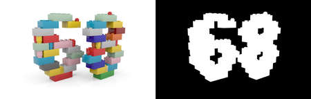 Colorful toy plastic number sixty-eight (number 68) from building bricks with alpha channel and shadow on white background. 3D illustration