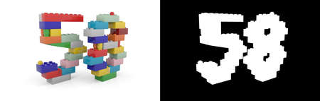 Colorful toy plastic number fifty-eight (number 58) from building bricks with alpha channel and shadow on white background. 3D illustration
