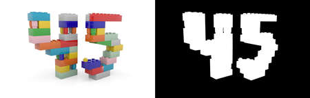 Colorful toy plastic number forty-five (number 45) from building bricks with alpha channel and shadow on white background. 3D illustration