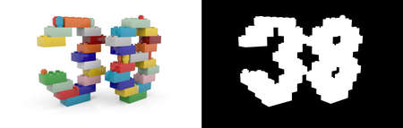 Colorful toy plastic number thirty-eight (number 38) from building bricks with alpha channel and shadow on white background. 3D illustration