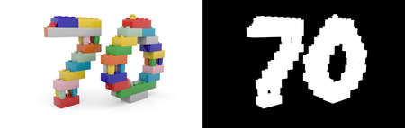 Colorful toy plastic number seventy (number 70) from building bricks with alpha channel and shadow on white background. 3D illustration