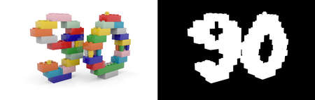 Colorful toy plastic number ninety (number 90) from building bricks with alpha channel and shadow on white background. 3D illustration