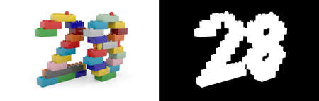 Colorful toy plastic number twenty-eight (number 28) from building bricks with alpha channel and shadow on white background. 3D illustration