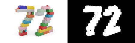 Colorful toy plastic number seventy-two (number 72) from building bricks with alpha channel and shadow on white background. 3D illustration Stock Photo