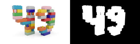 Colorful toy plastic number forty-nine (number 49) from building bricks with alpha channel and shadow on white background. 3D illustration Stock Photo