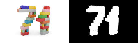 Colorful toy plastic number seventy-one (number 71) from building bricks with alpha channel and shadow on white background. 3D illustration