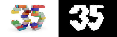 Colorful toy plastic number thirty-five (number 35) from building bricks with alpha channel and shadow on white background. 3D illustration
