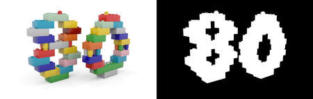 Colorful toy plastic number eighty (number 80) from building bricks with alpha channel and shadow on white background. 3D illustration