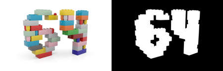 Colorful toy plastic number sixty-four (number 64) from building bricks with alpha channel and shadow on white background. 3D illustration