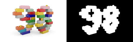 Colorful toy plastic number ninety-eight (number 98) from building bricks with alpha channel and shadow on white background. 3D illustration