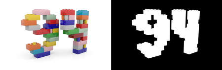 Colorful toy plastic number ninety-four (number 94) from building bricks with alpha channel and shadow on white background. 3D illustration Stock Photo
