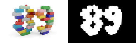 Colorful toy plastic number eighty-nine (number 89) from building bricks with alpha channel and shadow on white background. 3D illustration