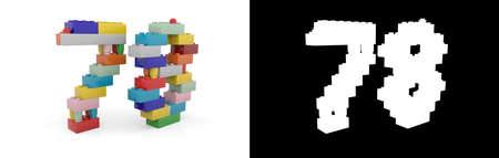 Colorful toy plastic number seventy-eight (number 78) from building bricks with alpha channel and shadow on white background. 3D illustration