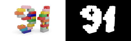 Colorful toy plastic number ninety-one (number 91) from building bricks with alpha channel and shadow on white background. 3D illustration