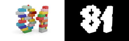 Colorful toy plastic number eighty-one (number 81) from building bricks with alpha channel and shadow on white background. 3D illustration Stock Photo