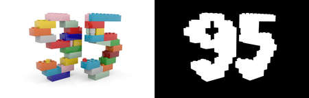 Colorful toy plastic number ninety-five (number 95) from building bricks with alpha channel and shadow on white background. 3D illustration