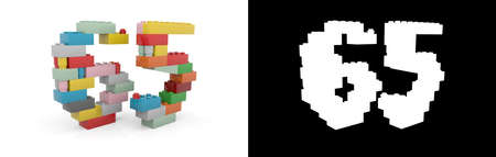 Colorful toy plastic number sixty-five (number 65) from building bricks with alpha channel and shadow on white background. 3D illustration