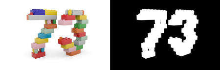 Colorful toy plastic number seventy-three (number 73) from building bricks with alpha channel and shadow on white background. 3D illustration