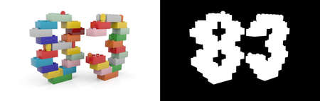 Colorful toy plastic number eighty-three (number 83) from building bricks with alpha channel and shadow on white background. 3D illustration
