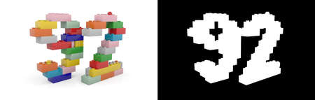 Colorful toy plastic number ninety-two (number 92) from building bricks with alpha channel and shadow on white background. 3D illustration
