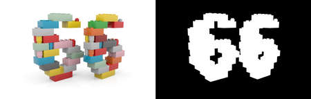 Colorful toy plastic number sixty-six (number 66) from building bricks with alpha channel and shadow on white background. 3D illustration