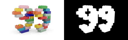 Colorful toy plastic number ninety-nine (number 99) from building bricks with alpha channel and shadow on white background. 3D illustration