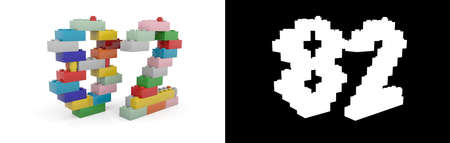 Colorful toy plastic number eighty-two (number 82) from building bricks with alpha channel and shadow on white background. 3D illustration