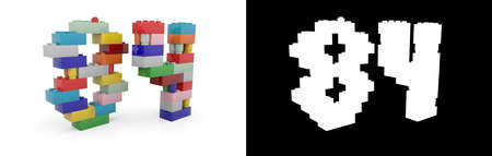 Colorful toy plastic number eighty-four (number 84) from building bricks with alpha channel and shadow on white background. 3D illustration