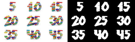 Set of numbers from five to forty-five from building bricks with alpha channel and shadow on white background. 3D illustration
