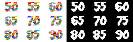 Set of numbers from fifty to ninety from building bricks with alpha channel and shadow on white background. 3D illustration