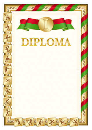 Vertical diploma for first place in a sports competition, golden color with a ribbon the color of the flag of Belarus. Vector image.