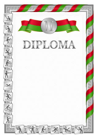 Vertical diploma for second place in a sports competition, silver color with a ribbon the color of the flag of Belarus. Vector image.