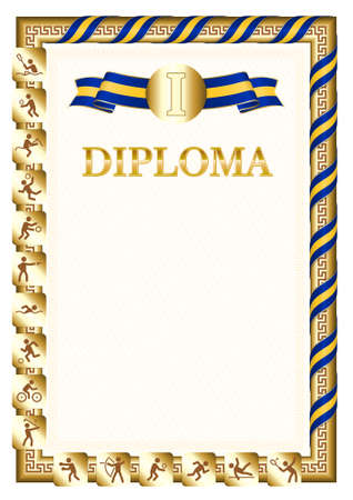 Vertical diploma for first place in a sports competition, golden color with a ribbon the color of the flag of Barbados. Vector image.