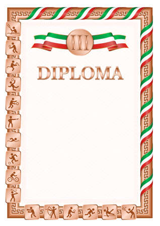 Vertical diploma for third place in a sports competition, bronze color with a ribbon the color of the flag of Congo. Vector image.